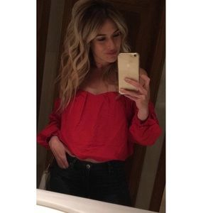 Red Crop Top Free People blouse